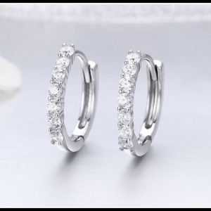 925 Silver Earrings With Cubic Zircon Stones NEW
